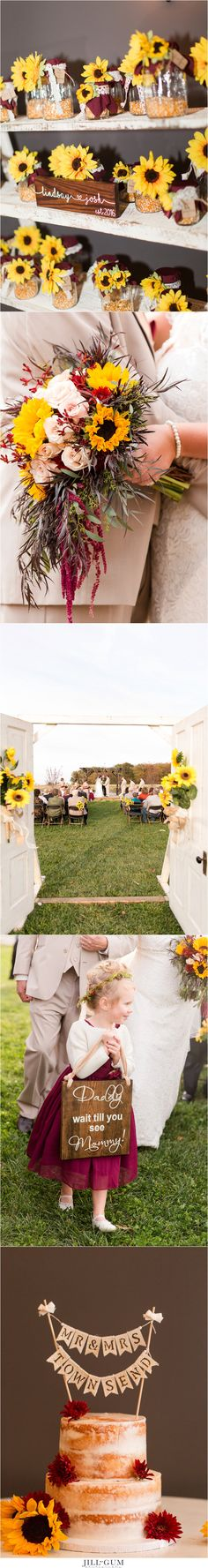 Jill Gum Photography | Fall Wedding | Sunflowers | Reception Details | Outdoor Ceremony | Vintage Doors | Sunflower Reception Decorations | Burgundy and Cream | Fall Colors | IL Wedding Photographer