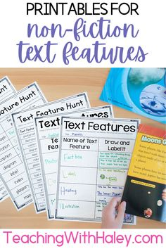 Nonfiction Text Features - This unit is packed with activities to get your little ones exploring, identifying, and using text features in their nonfiction books. Teacher Resources Elementary | First Grade Printables | Printables for Learning | ELA Resources |