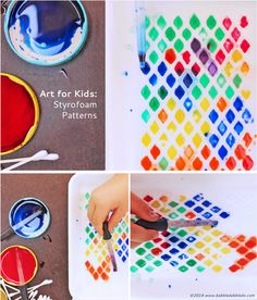 Styrofoam Patterns | BABBLE DABBLE DO | Recycle Styrofoam trays to create a simple activity exploring color and pattern.