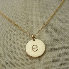 Gold Letter Necklace, lowercase typewriter 14K gold-filled charm letter necklace CHELSEA GOLD by E. Ria Designs