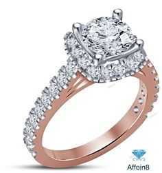 14k Rose Gold Finish 925 Silver Round Diamond Solitaire With Accent Wedding Ring #Affoin8 #SolitairewithAccentsEngagementRing