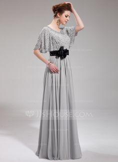 A-Line/Princess V-neck Floor-Length Chiffon Charmeuse Evening Dress With Sash Beading Flower(s) Sequins (017019724)