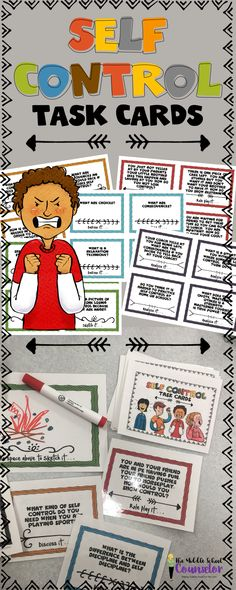 Self Control Task Cards--perfect for Emotional Regulation and Social Skills groups