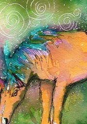 """Grazing"" ATC watercolor."