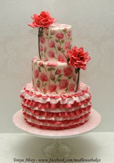 My Hand-Painted Rose And Ruffle Cake My Hand-Painted Rose And Ruffle Cake I love roses! My first go at painting roses on a cake, and at making gumpaste roses as well. Thank you... #valentine #valentines-day #heart #cakecentral