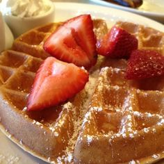Saturday (breakfast) Belgian Waffle with strawberries, and bananas with syrup or powdered sugar.