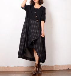 V-Neck Chinese Buttons Asymmetrical Cardigan Stripes Linen Vintage Coat  #coat #cardigan #black #stripes #vintage #Chinese #asymmetrical #linen #flax #elegant #dress