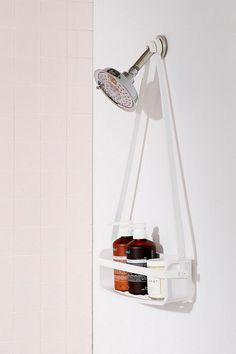 white shower caddy shelf