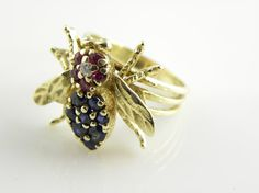 14kt Diamond Sapphire Ruby  Bumble Bee Ring solid by TreasurePLUS, $420.00