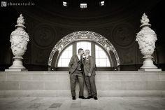 Same sex wedding portrait fourth floor balcony San Francisco City Hall