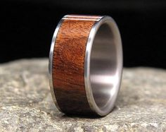 Men's Titanium Ring with Purple Crushed Amethyst by RingOrdering