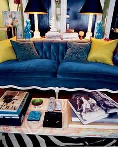 Our blue sofa has made the big time!… I've written before about our lovely Hutton sofa from Room and Board (including our adventures getting it into our apartment). When we picked out a luscious blue velvet fabric for the sofa, […] Blue Velvet Couch, Blue Couches, Velvet Color, Royal Blue Couch, Navy Couch, Velvet Lounge, Velvet Chairs, One Room Apartment, Living Room Ideas