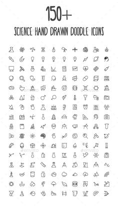 150+ Science Hand Drawn Doodle Icons