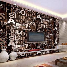 beibehang 3d English letter wallpaper living room bar coffee shop clothing barber shop studio retro PVC wallpaper decoration