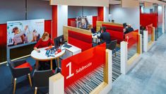 Santander unveils branch of the future - Retail Focus - Retail Interior Design and Visual Merchandising Open Office Design, Corporate Office Design, Corporate Interiors, Space Interiors, Office Interiors, Bank Interior Design, Banks Office, Exhibition Stand Design, Signage Design