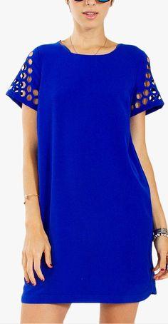 laser cut shift dress