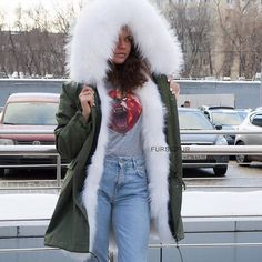 White fur lined parka