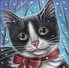 Tuxedo Cat Winter Painting