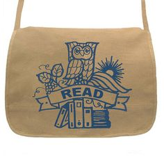 Owl With Books Messenger Tan, $39, now featured on Fab.