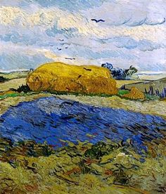 Vincent van Gogh and Auvers-sur-Oise -Haystacks under a rainy sky Vincent Van Gogh, Artist Van Gogh, Van Gogh Art, Art Van, Desenhos Van Gogh, Van Gogh Museum, Van Gogh Paintings, Piet Mondrian, Dutch Artists