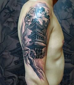 Half Sleeve Tree Branch With Japanese Temple Mens Tattoos