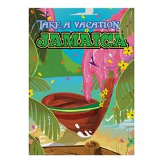 Jamaica cartoon travel poster.  Visit The island of Jamaica poster print.