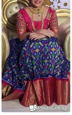 Ikkat pure silk jaquard border lehanga with blouse Half Saree Lehenga, Kids Lehenga, Saree Dress, Anarkali, Half Saree Designs, Sari Blouse Designs, Lehenga Designs, Indian Gowns Dresses, Indian Outfits