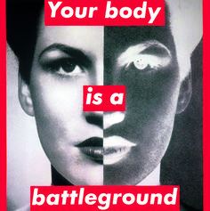 """Barbara Kruger Untitled (Your body is a battleground), 1989 """"The Inaugural Installation"""" at The Broad, Los Angeles"""