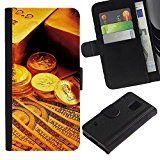 Flip Leder Tasche Handy Schutz Hülle || Samsung Galaxy S5 V SM-G900 || Gold Bar-Münzen-Geld @XPTECH