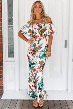Vibrant Botanic Print Off-the-shoulder Maxi Dress MB61189-9 – ModeShe.com