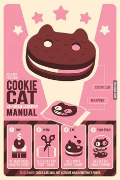 A very handy Cookie Cat Ice Cream Sandwich Manual because ice cream can be difficult to understand. Fanart from Steven Universe. Steven Universe Wallpaper, Steven Universe Poster, Steven Universe Cookie Cat, Steven Universe Weapons, Steven Universe Background, Steven Universe Stickers, All Poster, Poster Prints, Posters