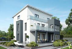 Celebration 275 V4 - Bien Zenker - http://www.hausbaudirekt.de/haus/celebration-275-v4/ - Fertighaus als Modernes Haus Stadthaus Zweifamilienhaus mit Pultdach