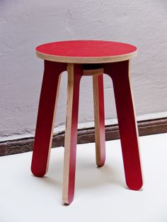 Monovis, 2013 -  stool made out of 6x cnc milled 18mm plywood pieces, 1x screw -  Fabricated on demand, different colors and materialities available.
