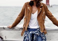 The Azelea faux suede moto jacket is a fall favorite of ours.