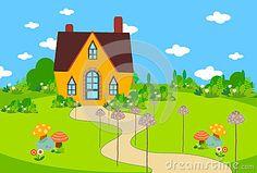 Cute house with mushroom.