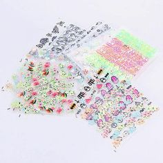 Beauty 3D Nail Stickers Art Water Decal Fashion with 50 Sheet Random Colorful Tips Decoration * Click image for more details.