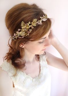 bronze headband with flowers and leaves and swarovski crystals