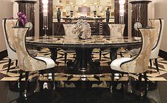 Dining Tables - GRAND OVAL INLAID MACASSAR EBONY TABLE 513F