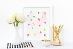Watercolour ice-creams abstract art by eRoseImagery