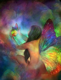 Фото Обнаженная девушка с крыльями бабочки держит в руках бабочку, на фоне бабочек, Carol Cayafaris