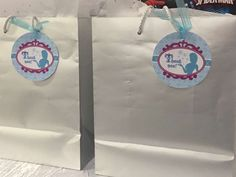 Favor bags at a Frozen birthday party! See more party planning ideas at CatchMyParty.com!