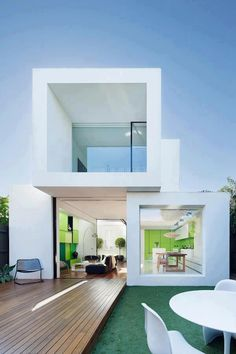 The Shakin Stevens house is located in Melbourne, Australia. It's a house that was designed by Matt Gibson Architecture + Design and it was a project that Architecture Design, Minimal Architecture, Modern Architecture House, Concept Architecture, Residential Architecture, Minimalist House Design, Minimalist Home, Modern House Design, Villa Design