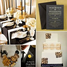 black and gold wedding theme would be ideal for a New Year's wedding celebration
