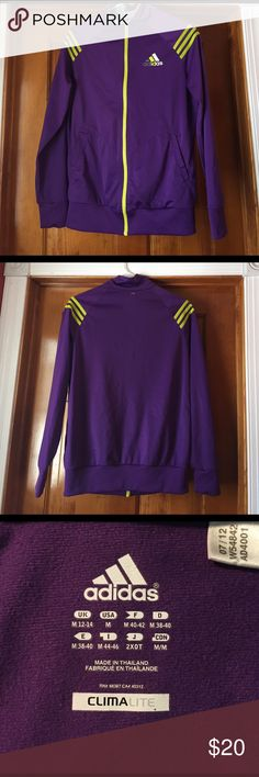 Purple Adidas Sweat Jacket Purple with bright lime green stripes. Excellent condition, only wore it a few times. Zipper works amazing. It is 100% polyester. Adidas Jackets & Coats