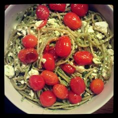 Home made pesto pasta w feta and cherry tomatoes
