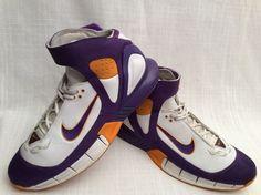 VINTAGE NIKE AIR ZOOM HUARACHE 2K5 LAKERS EDITION MEN'S SIZE 12 BASKETBALL SHOES #Nike #BasketballShoes