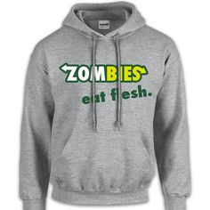 Zombies Eat Flesh Sweatshirt Funny Cool Geek Nerd Gift Witty Halloween... ($35) ❤ liked on Polyvore featuring tops, hoodies, sweatshirts, jackets, sweaters, shirts, black, women's clothing, sweatshirts hoodies and long shirts