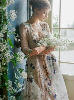 Emily Riggs Nouveau Renaissance // Haute Couture Lace Wedding Dress featuring hand beaded French lace and embroidered Italian tulle for the dreamiest + most fashion forward bride