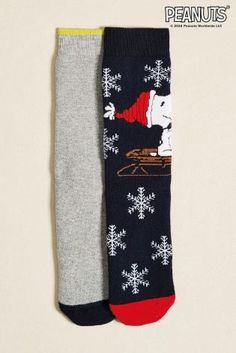 Snoopy Towelling Bed Socks Two Pack