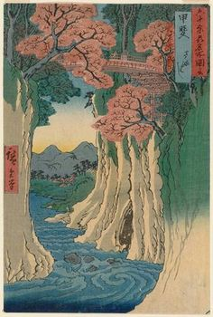 Utagawa Hiroshige: Kai Province: Monkey Bridge (Kai, Saruhashi), from the series Famous Places in the Sixty-odd Provinces [of Japan] ([Dai Nihon] Rokujûyoshû meisho zue) - Museum of Fine Arts